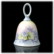 SALE Hand Painted Porcelain Bell Blue Yellow Flowers A Jean Original