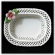 SALE Levante Spain Porcelain Basket Weave Dish with Pink Flower Lattice
