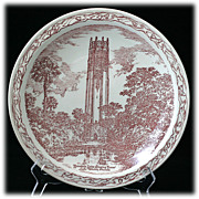 SALE Vernon Kilns Mountain Lake Singing Tower  Souvenir Commemorative Plate Vintage Red