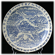 Commemorative Souvenir Plate Vernon Kilns Blue Badlands National Monument