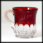 SALE EAPG Ruby Stained Glass Mug Just One Girl 1906 Arched Ovals Souvenir Antique