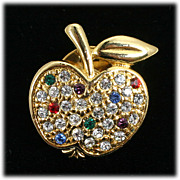 Rhinestone Apple Lapel Pin Sparkling Crystal Ruby Blue and Green