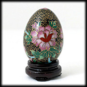 SALE Vintage Black Cloisonne Egg with Stand Pink Flowers Butterflies Enamel decor