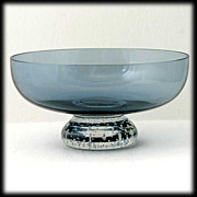 SOLD Scandinavian Blue Art glass Bowl Crystal Controlled Bubble Base