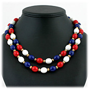 SALE Crown Trifari Patriotic Necklace Red White Blue Beads Double Strand
