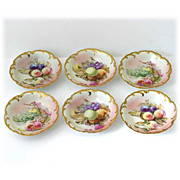SALE Royal Munich Bavarian Porcelain Bowls Hand Painted Fruits Gold Trim Antique Set 6