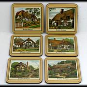 Pimpernel Cork Coasters English Cottages Collection Box Set 6 Vintage