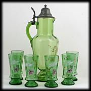 Bohemian Green Enameled Art Glass Claret Jug Pitcher and Tumblers Set Flowers