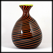 SOLD Hand Blown Art Glass Vase Black Orange Spirals Studio Artist