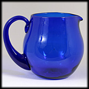 SOLD Blenko Cobalt Blue Art Glass Pitcher Hand Blown