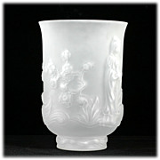 Fenton Crystal Velvet Empress Vase Asian Princess 1970s Vintage Art Glass