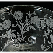 SOLD Fostoria Buttercup Tea Cup Elegant Glass Vintage 1940s Flowers Etched
