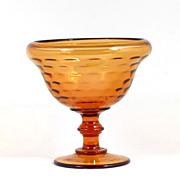 Vintage Amber Elegant Glass Dot Optic Compote Bowl 1940s Honeycomb