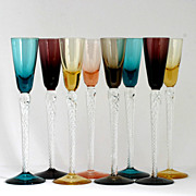 SOLD Set 8 Multicolored Airtwist Stem Cordial Glasses Art Glass Blue Amethyst Yellow