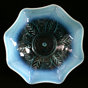 Northwood Netted Roses Blue Opalescent Antique Glass Bowl 1906 Leaved Flowers