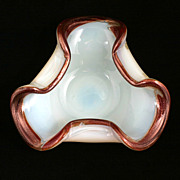Murano Opalescent Art Glass Bowl Mid Century Modern Ruby Copper Aventurine Vintage