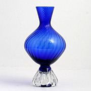 SOLD Aseda Cobalt Blue Art Glass Vase Swedish Mid Century Modern
