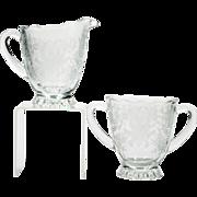 Viking Prelude Creamer and Sugar Bowl Vintage Elegant Glass New Martinsville