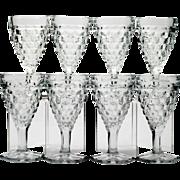 Fostoria American Hex Footed Wine Glasses Set 8 Vintage Elegant Glass