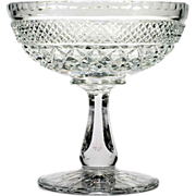 SOLD Cut Crystal Compote Diamond Cut Vintage