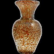 Hand Blown Art Glass Vase Amber Brown and White Dappled Studio work.