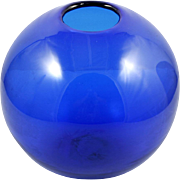 SOLD Blenko Sapphire Blue Globe Vase 7115M Hand Blown Art Glass Cobalt