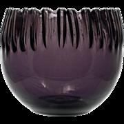 SOLD Blenko Amethyst Art Glass Bowl Crimped 538 Anderson Mid Century Modern Hand Blown