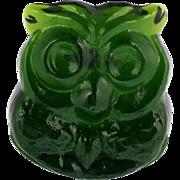 Blenko Art Glass Green Owl Figurine Hand Made USA with Label Lars Hellsten.