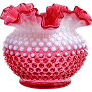 SOLD Fenton Cranberry Opalescent Hobnail Vase Vintage Ruffled Art Glass 3850