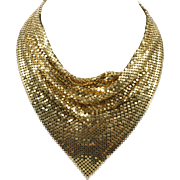 Gold Mesh Cowl Bib Necklace Vintage Goldtone Sparkler