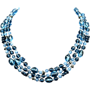 Blue Bead Necklace Triple Strand