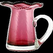 Pilgrim Cranberry Mini Pitcher Art Glass Hand Blown Spiral Optic