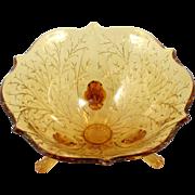 Fenton Amber Silvertone Flared Bowl No 1005 Vintage 1930s Art Glass