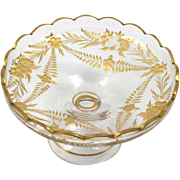 Intaglio Cut Art Glass Compote Gilded Vintage Hand Made European