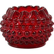 LG Wright Ruby Hobnail Rose Bowl Art Glass Vintage Vase