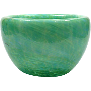 Green Art Glass Bubble Bowl Hand Blown Studio Glass Seattle