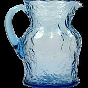 Morgantown Blue Crinkle Glass Pitcher Ockner Art Glass 1960s Vintage