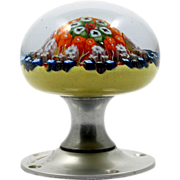 SOLD Millefiori Cartwheel Paperweight Strathearn Doorknob Vintage Art Glass Scottish