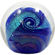 Glass Eye Studio Celestial Paperweight Northern Lights Blue Dichroic Art Glass Orb
