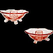 Lancaster Petal Pink Glass Candle Stick Holders Pair Vintage Art Glass
