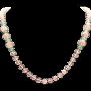 Rose Quartz and Jade Necklace Single Strand Vintage Beads