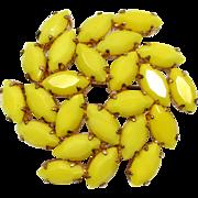 Sunny Yellow Glass Rhinestone Brooch Vintage Mid Century