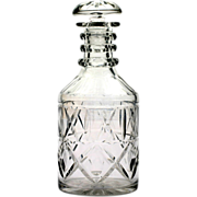 Anglo-Irish Liquor Decanter 3 Ring Neck Cut Glass 1840s Antique Crystal