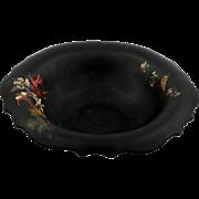Tiffin #310 Black Glass Bowl with Bird and Flower Decoration Elegant Glass