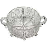 Paneled Thistle EAPG Handled Bowl Antique Pressed Glass 1910