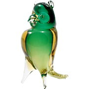 Murano Glass Sommerso Owl Figurine Green Amber Italian Art Glass