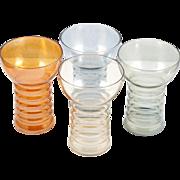 Dunbar Fruit Juice Glasses Rainbow Refreshment Set Vintage Iridescent Glass