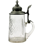 Antique Cut Glass Stein Tankard American Brilliant or Bohemian Crystal