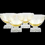 Fostoria New Garland Topaz Glass Sherbet Dessert Dishes Vintage 1930s Elegant Etched