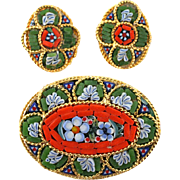 Vintage 1970's Italian Micro Mosaic Demi Parure, Brooch & Earrings.